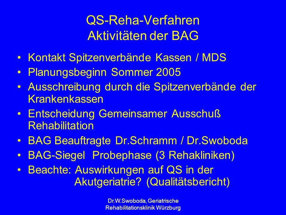 Dr.W.Swoboda, Geriatrische Rehabilitationsklinik Würzburg Qualitätssicherungsprogramm der Gesetzlichen Krankenkassen in der Medizinischen Rehabilitation (QS-Reha-Verfahren ) Rechtliche Grundlagen Instrumente und Verfahren Ergebnisrückmeldung an die Kliniken Organisatorischer Ablauf