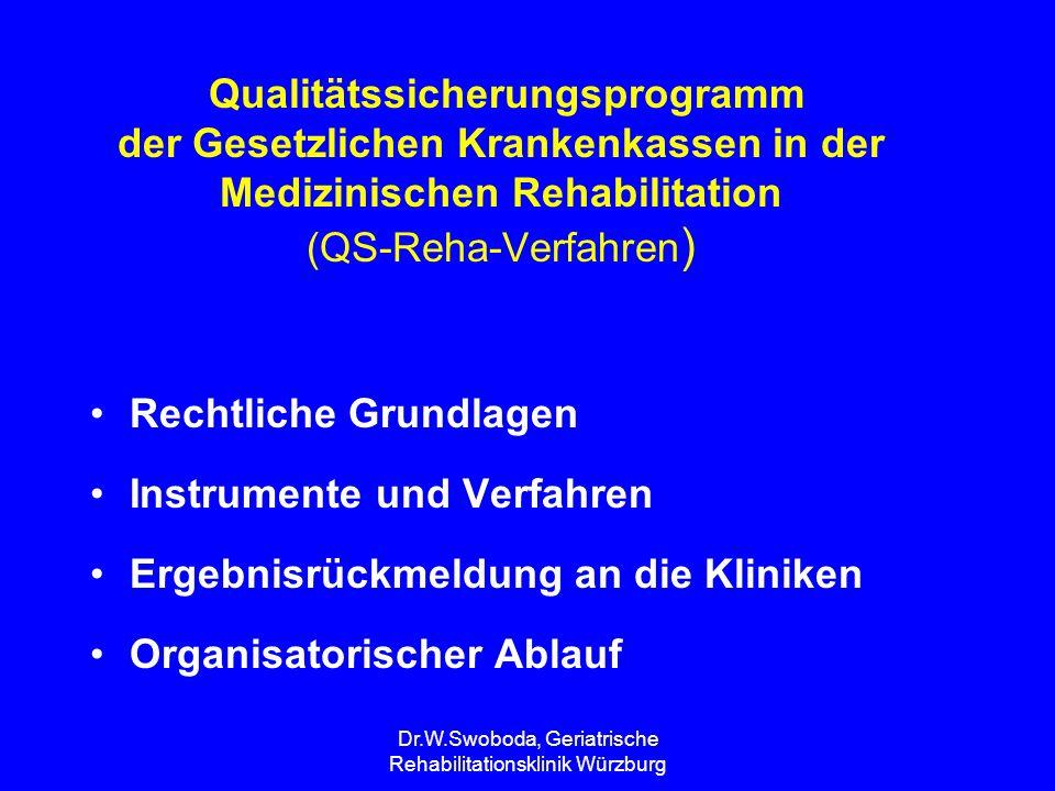 Dr.W.Swoboda, Geriatrische Rehabilitationsklinik Würzburg Qualitätssicherungsprogramm der Gesetzlichen Krankenkassen in der Medizinischen Rehabilitati