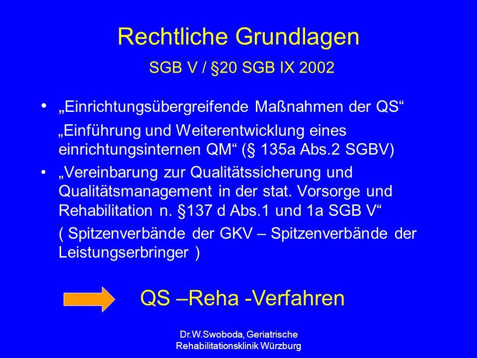 """Dr.W.Swoboda, Geriatrische Rehabilitationsklinik Würzburg QS – Reha - Verfahren Seit 1.4.2004 verpflichtend für alle stationären Vorsorge- und Rehabilitationseinrichtungen, die von der GKV hauptbelegt sind Derzeit 140 Kliniken Die Routinephase für somatische Indikationen beginnt ab dem Frühjahr 2005 Entwicklung für die Indikation """"Geriatrie beginnt ab Herbst 2005 Abt."""