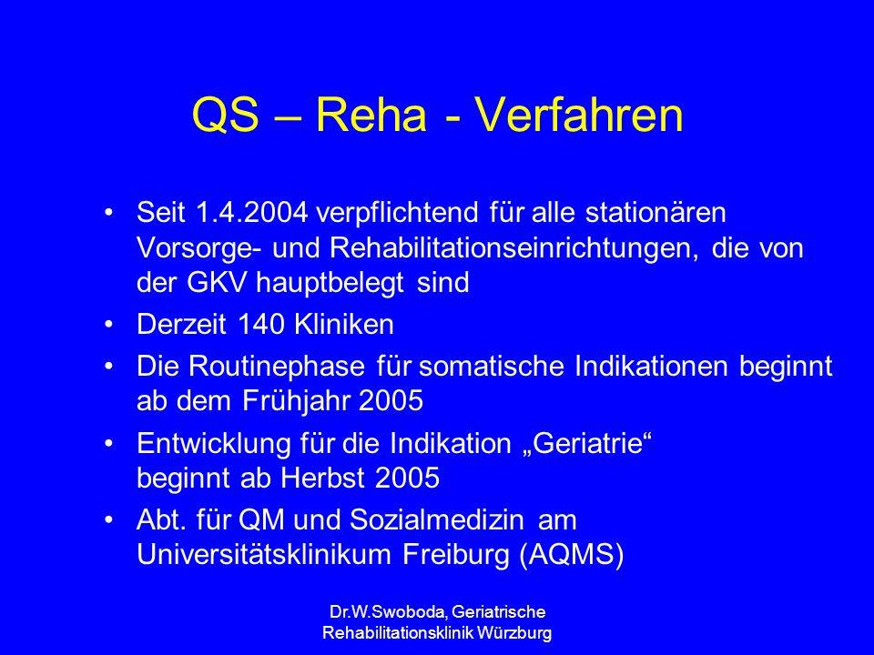Dr.W.Swoboda, Geriatrische Rehabilitationsklinik Würzburg QS – Reha - Verfahren Seit 1.4.2004 verpflichtend für alle stationären Vorsorge- und Rehabil