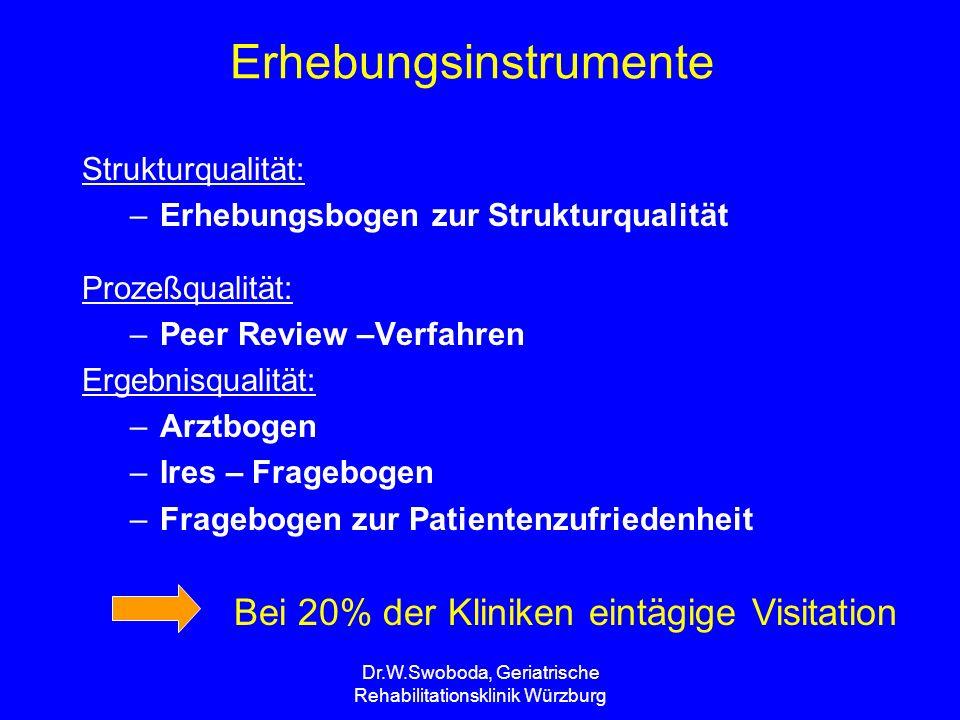 Dr.W.Swoboda, Geriatrische Rehabilitationsklinik Würzburg Erhebungsinstrumente Strukturqualität: –Erhebungsbogen zur Strukturqualität Prozeßqualität: