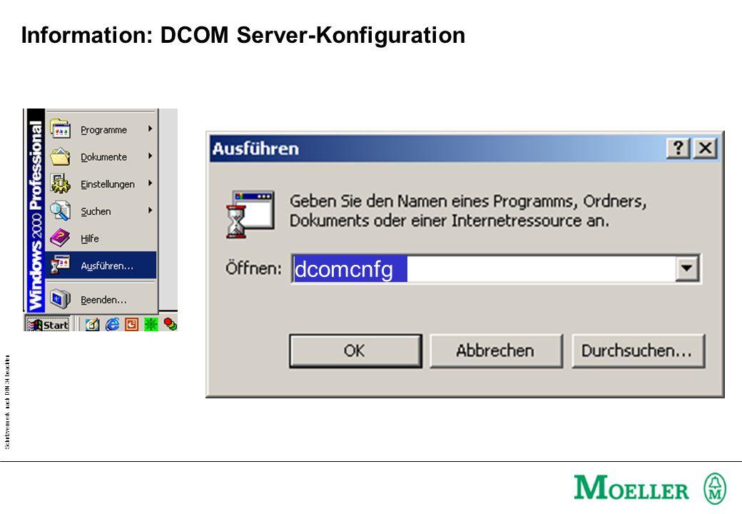 Schutzvermerk nach DIN 34 beachten Information: DCOM Server-Konfiguration dcomcnfg