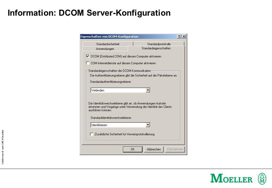 Schutzvermerk nach DIN 34 beachten Information: DCOM Server-Konfiguration