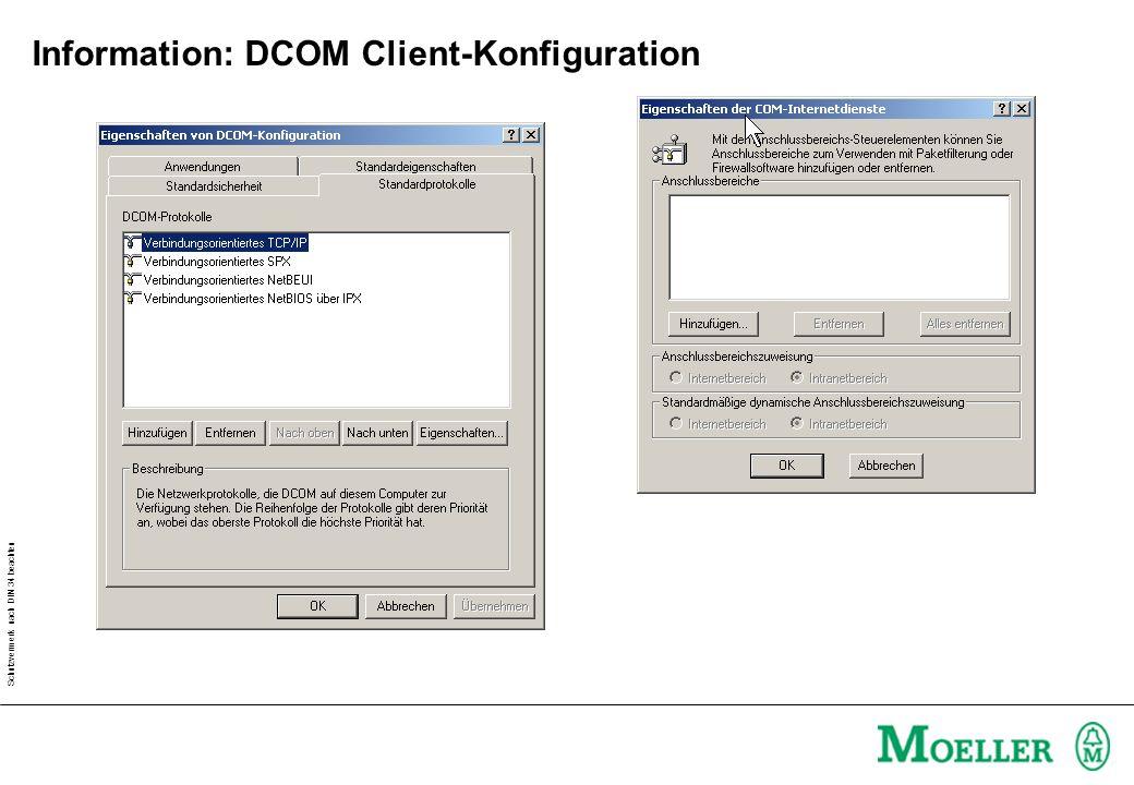 Schutzvermerk nach DIN 34 beachten Information: DCOM Client-Konfiguration