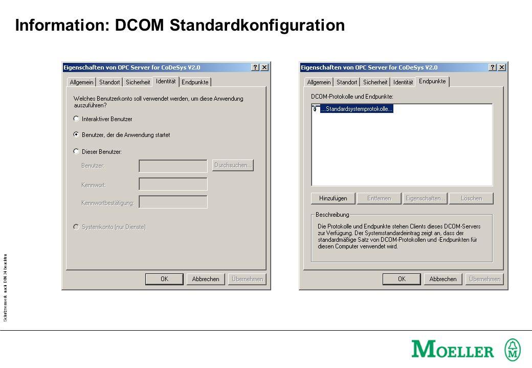 Schutzvermerk nach DIN 34 beachten Information: DCOM Standardkonfiguration