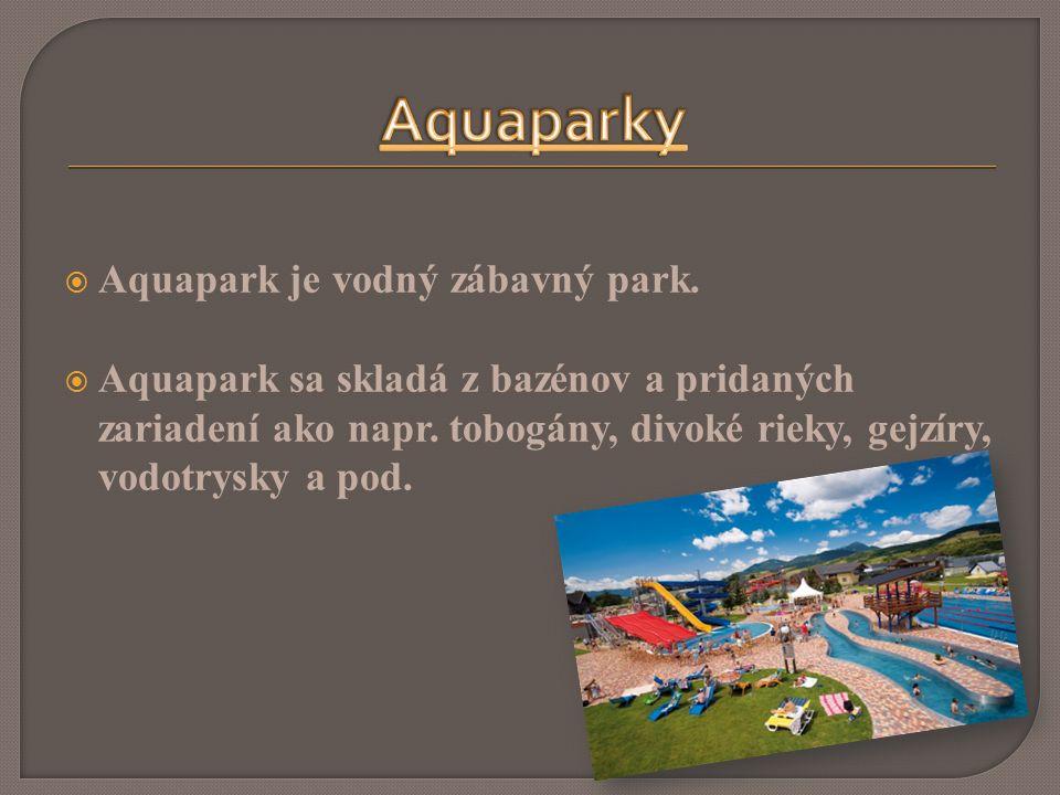 Aquapark je vodný zábavný park.  Aquapark sa skladá z bazénov a pridaných zariadení ako napr.