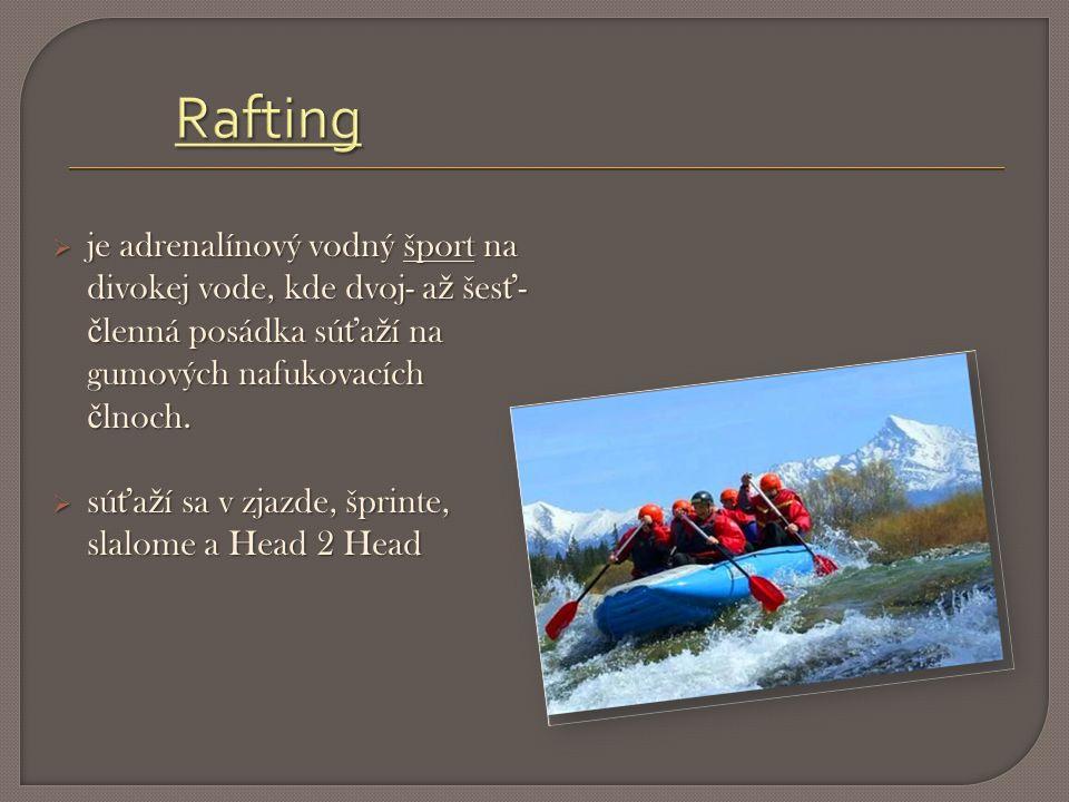 je adrenalínový vodný šport na divokej vode, kde dvoj- a ž šes ť - č lenná posádka sú ť a ž í na gumových nafukovacích č lnoch.