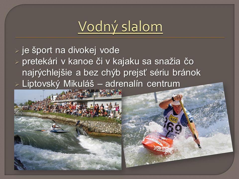  je šport na divokej vode  pretekári v kanoe či v kajaku sa snažia čo najrýchlejšie a bez chýb prejsť sériu bránok  Liptovský Mikuláš – adrenalín centrum