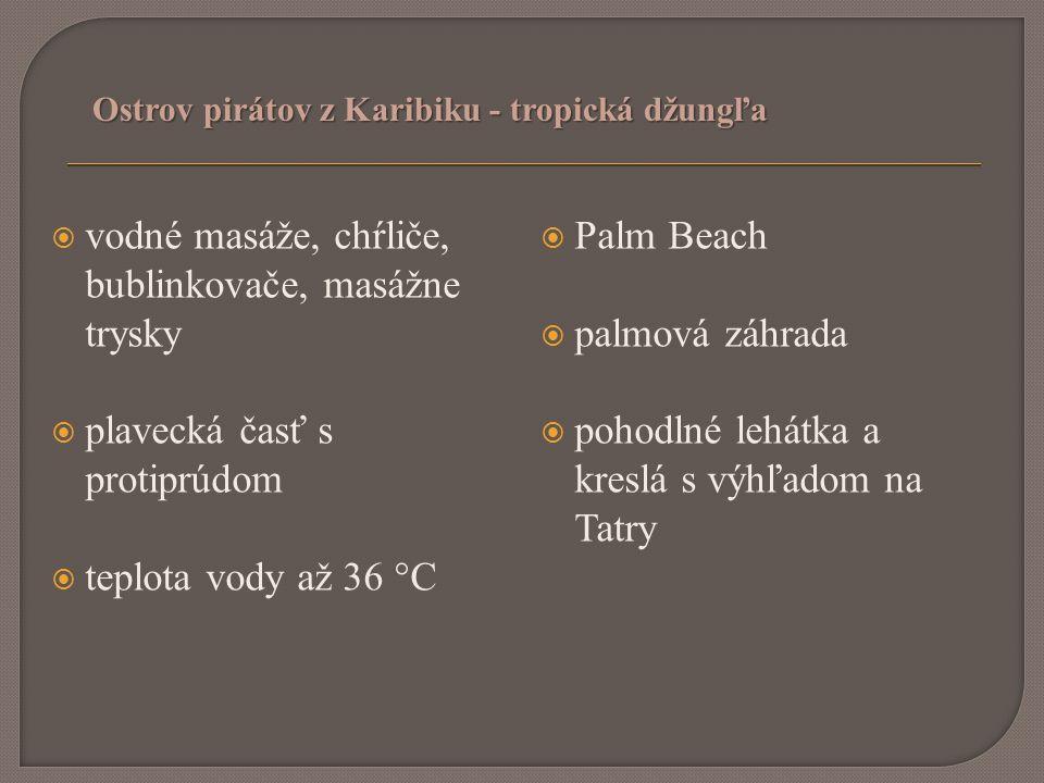  vodné masáže, chŕliče, bublinkovače, masážne trysky  plavecká časť s protiprúdom  teplota vody až 36 °C  Palm Beach  palmová záhrada  pohodlné lehátka a kreslá s výhľadom na Tatry Ostrov pirátov z Karibiku - tropická džungľa