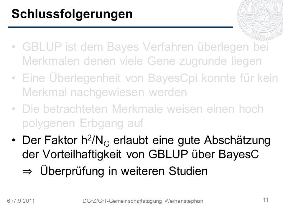 6./7.9.2011DGfZ/GfT-Gemeinschaftstagung, Weihenstephan Schlussfolgerungen GBLUP ist dem Bayes Verfahren überlegen bei Merkmalen denen viele Gene zugru