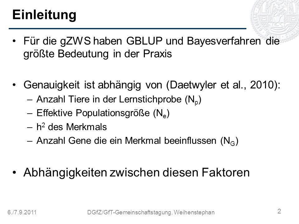 6./7.9.2011DGfZ/GfT-Gemeinschaftstagung, Weihenstephan Fragestellung Welches Verfahren liefert anhand eines realen Datensatzes die höchsten Genauigkeiten der genomischen Zuchtwerte.