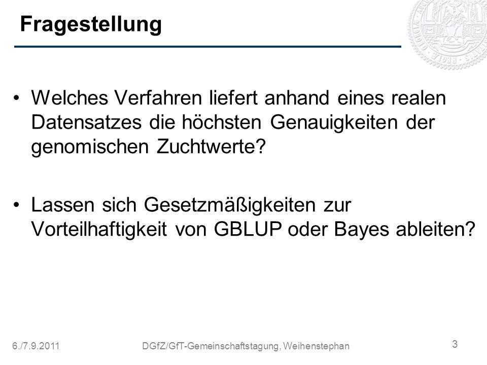 6./7.9.2011DGfZ/GfT-Gemeinschaftstagung, Weihenstephan Datenmaterial 1.138 Bullen des Schweizer Braunvieh.