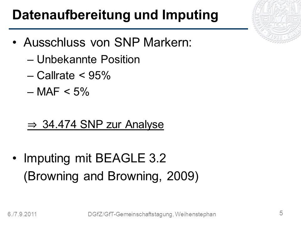 6./7.9.2011DGfZ/GfT-Gemeinschaftstagung, Weihenstephan Datenaufbereitung und Imputing Ausschluss von SNP Markern: –Unbekannte Position –Callrate < 95%