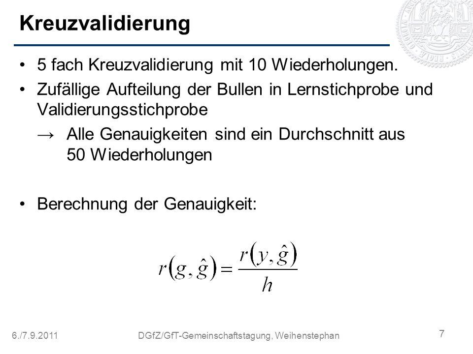 6./7.9.2011DGfZ/GfT-Gemeinschaftstagung, Weihenstephan Kreuzvalidierung 5 fach Kreuzvalidierung mit 10 Wiederholungen. Zufällige Aufteilung der Bullen