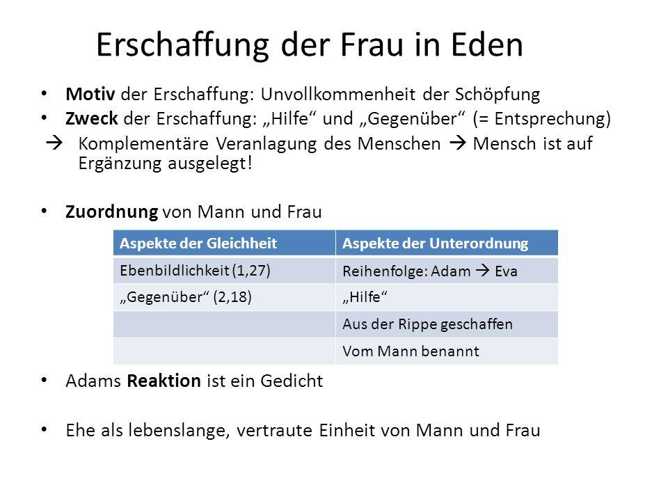 """Erschaffung der Frau in Eden Motiv der Erschaffung: Unvollkommenheit der Schöpfung Zweck der Erschaffung: """"Hilfe"""" und """"Gegenüber"""" (= Entsprechung)  K"""