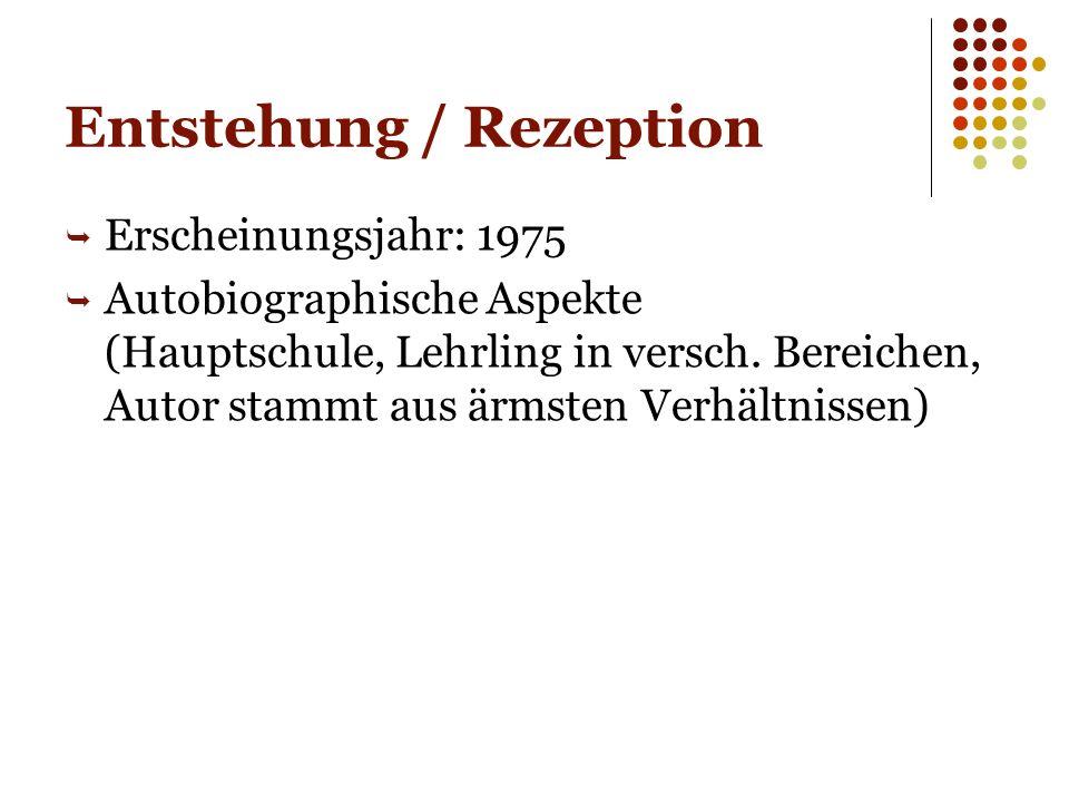 Entstehung / Rezeption  Erscheinungsjahr: 1975  Autobiographische Aspekte (Hauptschule, Lehrling in versch.