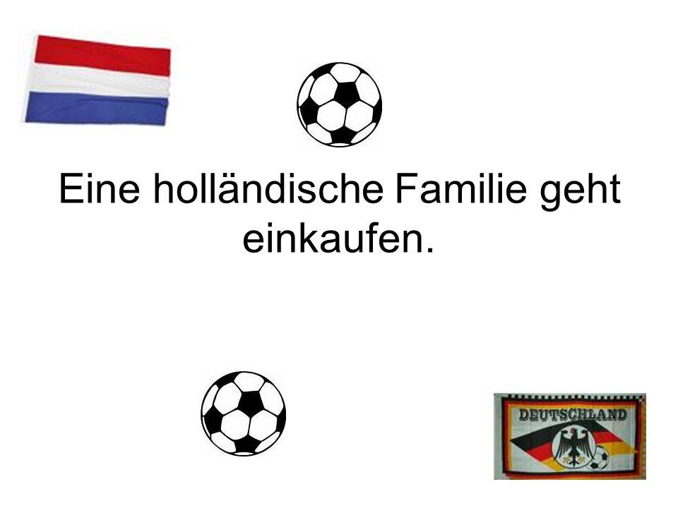 Eine holländische Familie geht einkaufen.