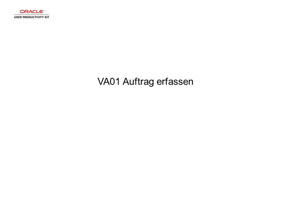 VA01 Auftrag erfassen