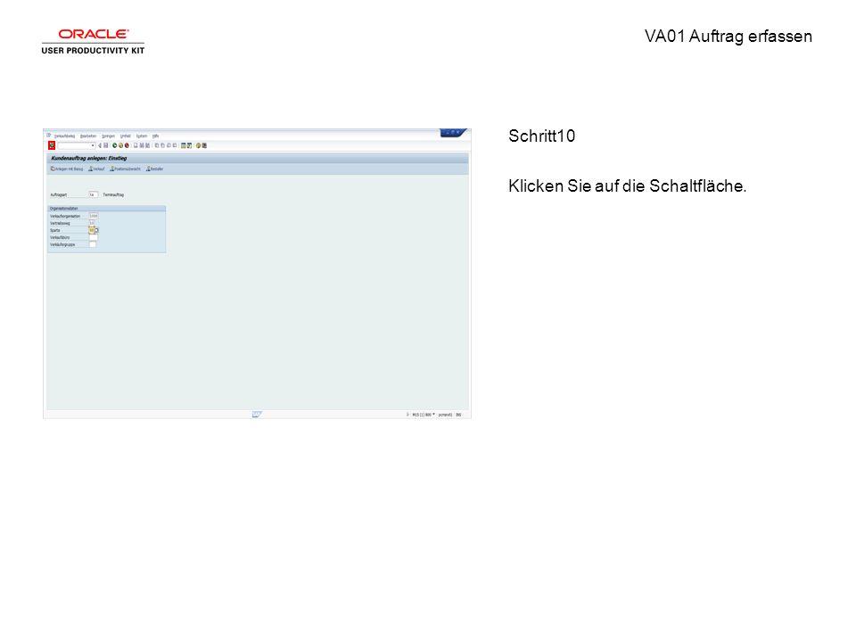 VA01 Auftrag erfassen Schritt10 Klicken Sie auf die Schaltfläche.