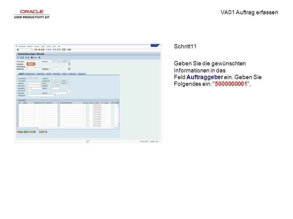 VA01 Auftrag erfassen Schritt11 Geben Sie die gewünschten Informationen in das Feld Auftraggeber ein. Geben Sie Folgendes ein: