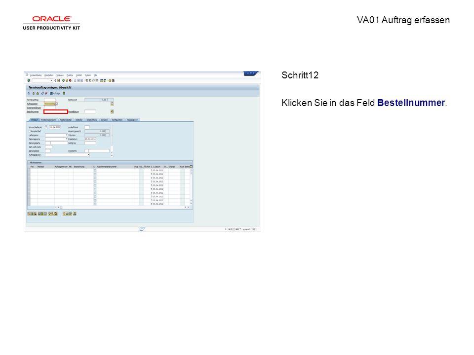 VA01 Auftrag erfassen Schritt12 Klicken Sie in das Feld Bestellnummer.