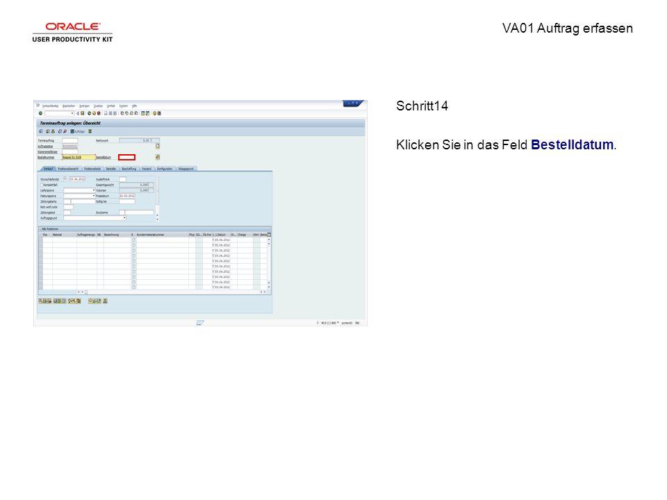 VA01 Auftrag erfassen Schritt14 Klicken Sie in das Feld Bestelldatum.