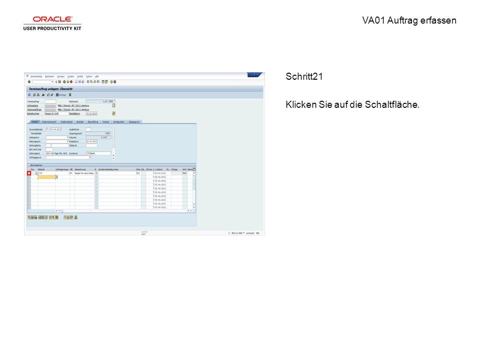 VA01 Auftrag erfassen Schritt21 Klicken Sie auf die Schaltfläche.