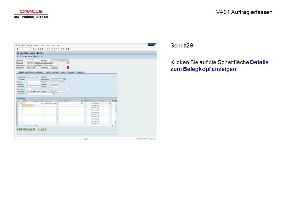VA01 Auftrag erfassen Schritt29 Klicken Sie auf die Schaltfläche Details zum Belegkopf anzeigen.