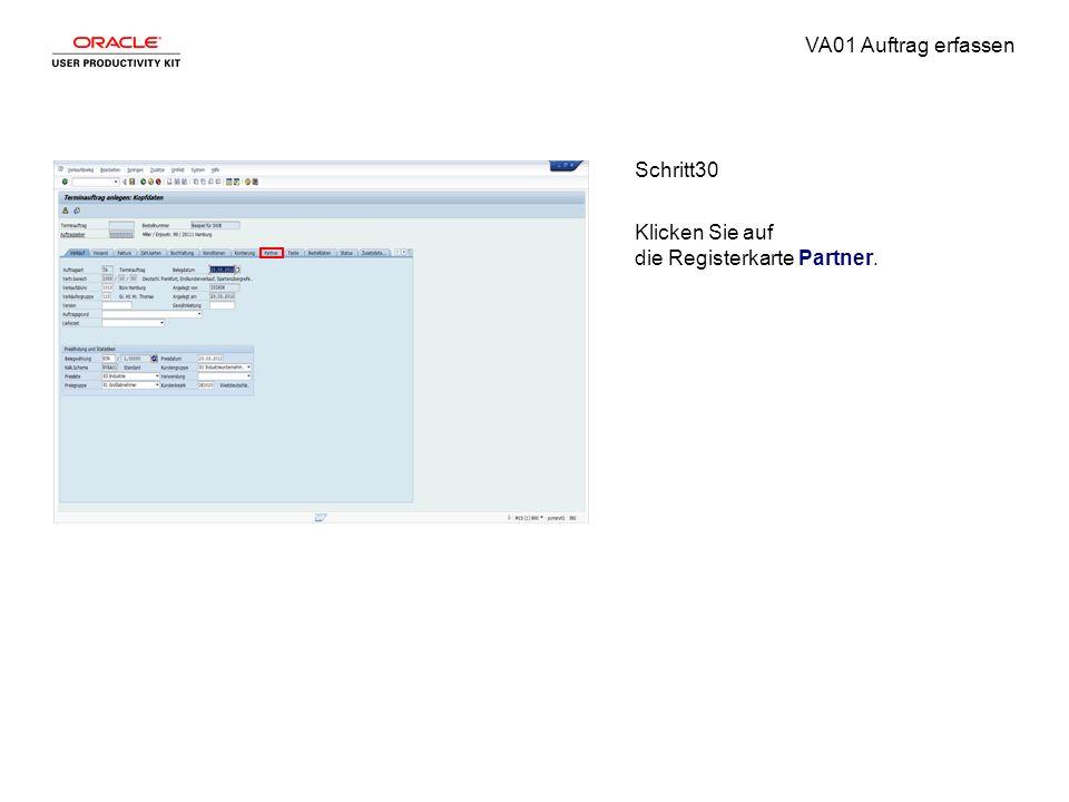 VA01 Auftrag erfassen Schritt30 Klicken Sie auf die Registerkarte Partner.