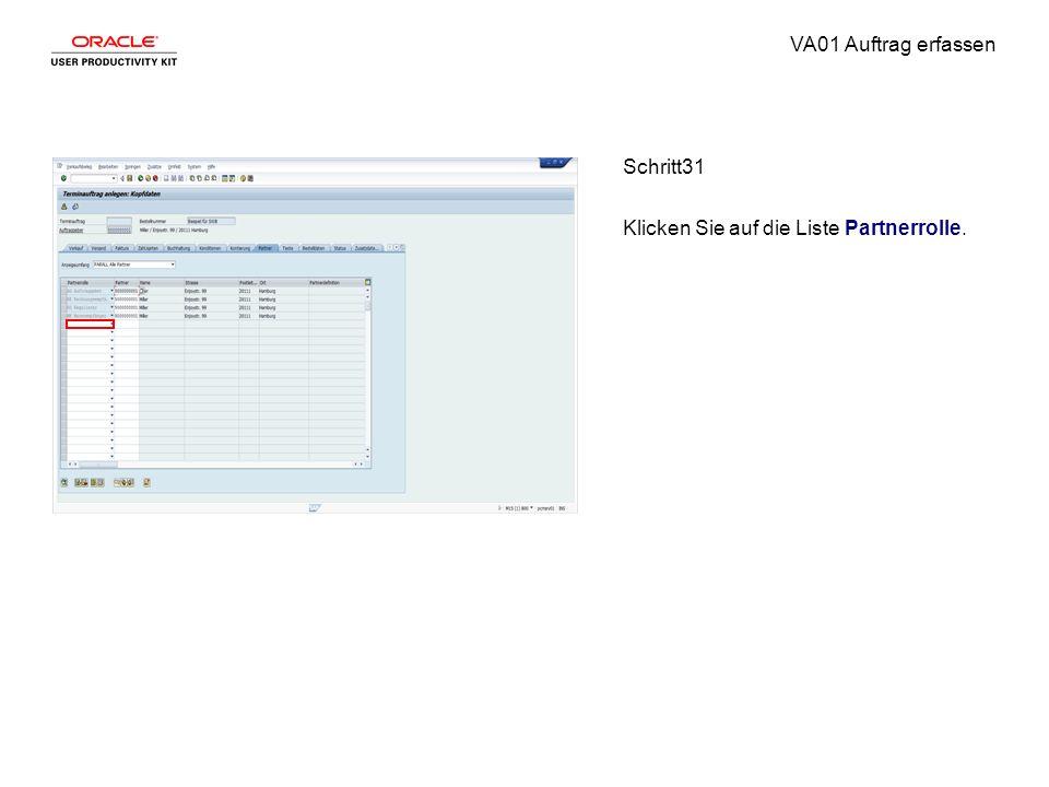 VA01 Auftrag erfassen Schritt31 Klicken Sie auf die Liste Partnerrolle.