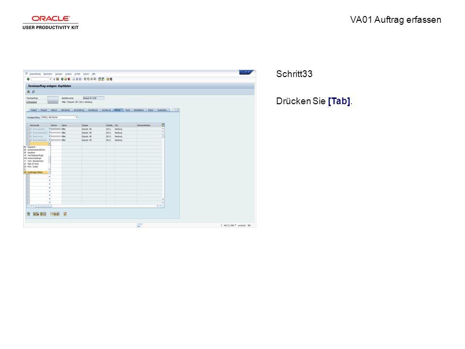 VA01 Auftrag erfassen Schritt33 Drücken Sie [Tab].