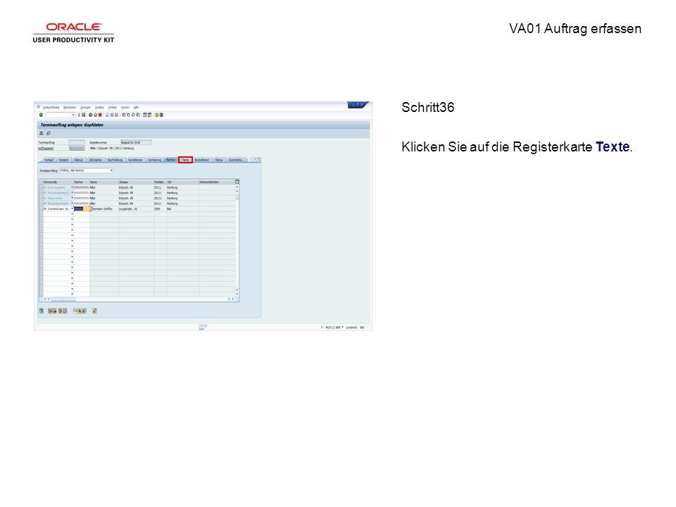 VA01 Auftrag erfassen Schritt36 Klicken Sie auf die Registerkarte Texte.