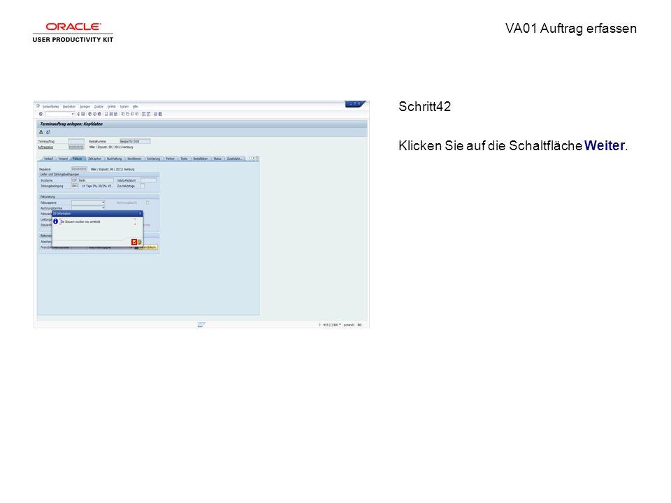 VA01 Auftrag erfassen Schritt42 Klicken Sie auf die Schaltfläche Weiter.