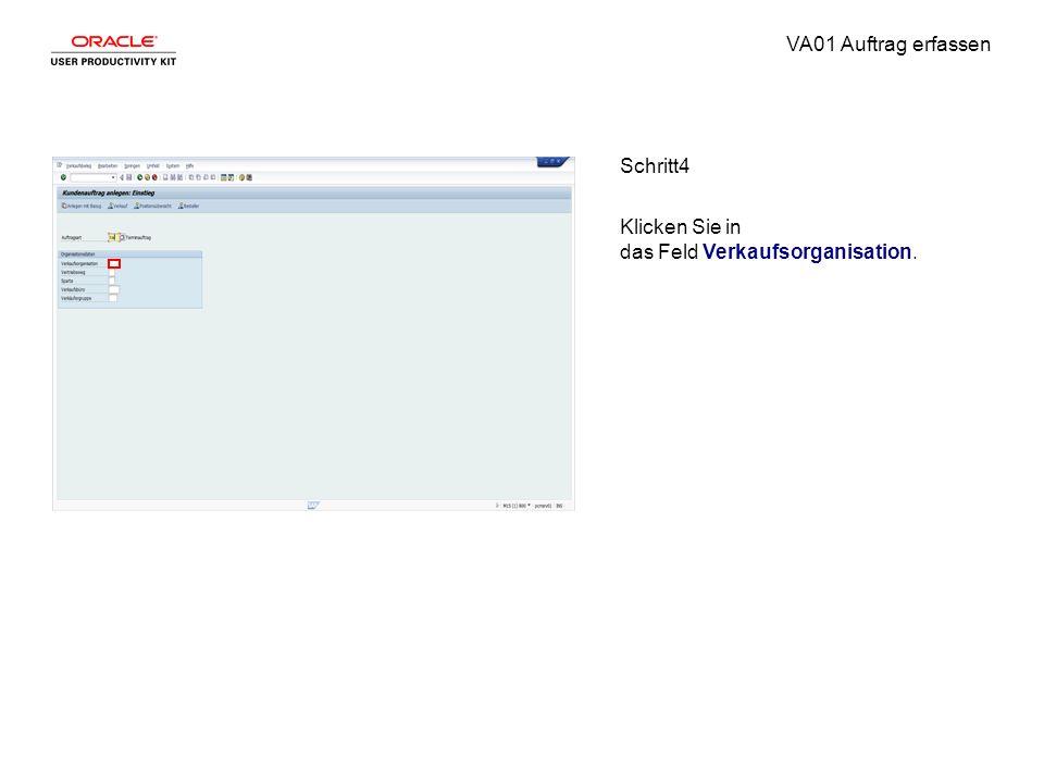 VA01 Auftrag erfassen Schritt4 Klicken Sie in das Feld Verkaufsorganisation.