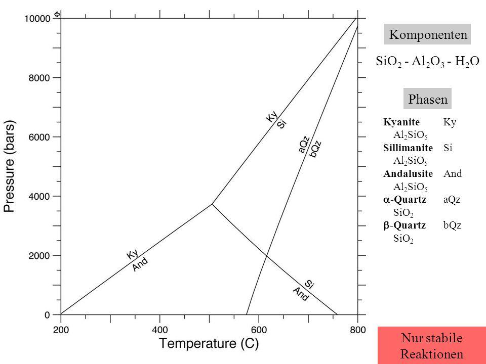 Komponenten SiO 2 - Al 2 O 3 - H 2 O Phasen KyaniteKy Al 2 SiO 5 SillimaniteSi Al 2 SiO 5 AndalusiteAnd Al 2 SiO 5  -QuartzaQz SiO 2  -QuartzbQz SiO 2 Nur stabile Reaktionen