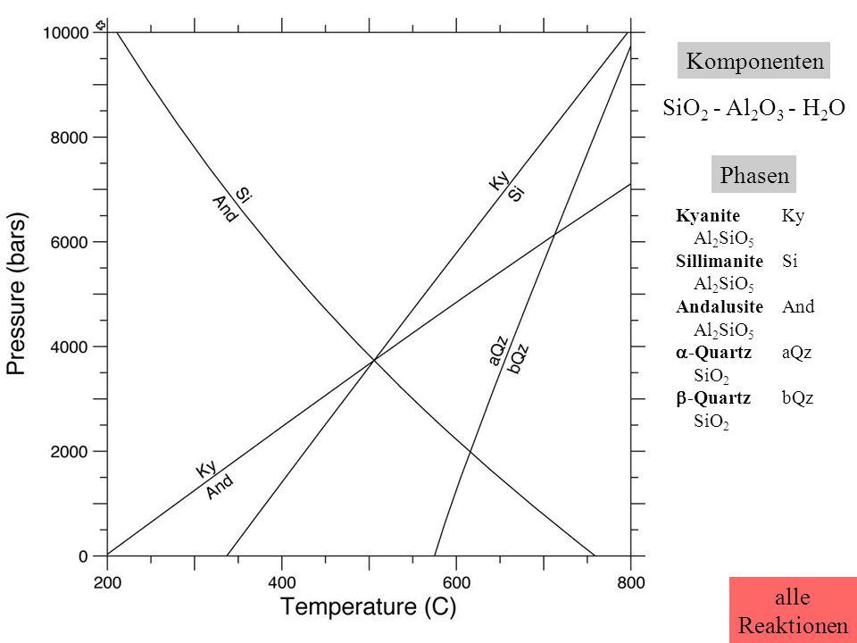 Komponenten SiO 2 - Al 2 O 3 - H 2 O Phasen KyaniteKy Al 2 SiO 5 SillimaniteSi Al 2 SiO 5 AndalusiteAnd Al 2 SiO 5  -QuartzaQz SiO 2  -QuartzbQz SiO 2 alle Reaktionen