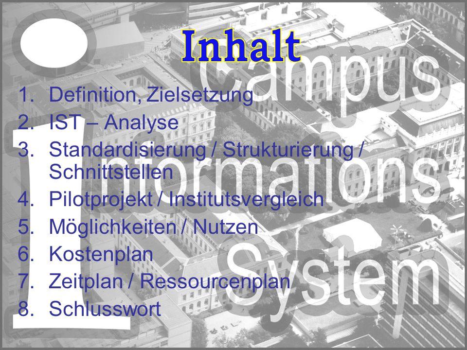 1.Definition, Zielsetzung 2.IST – Analyse 3.Standardisierung / Strukturierung / Schnittstellen 4.Pilotprojekt / Institutsvergleich 5.Möglichkeiten / N