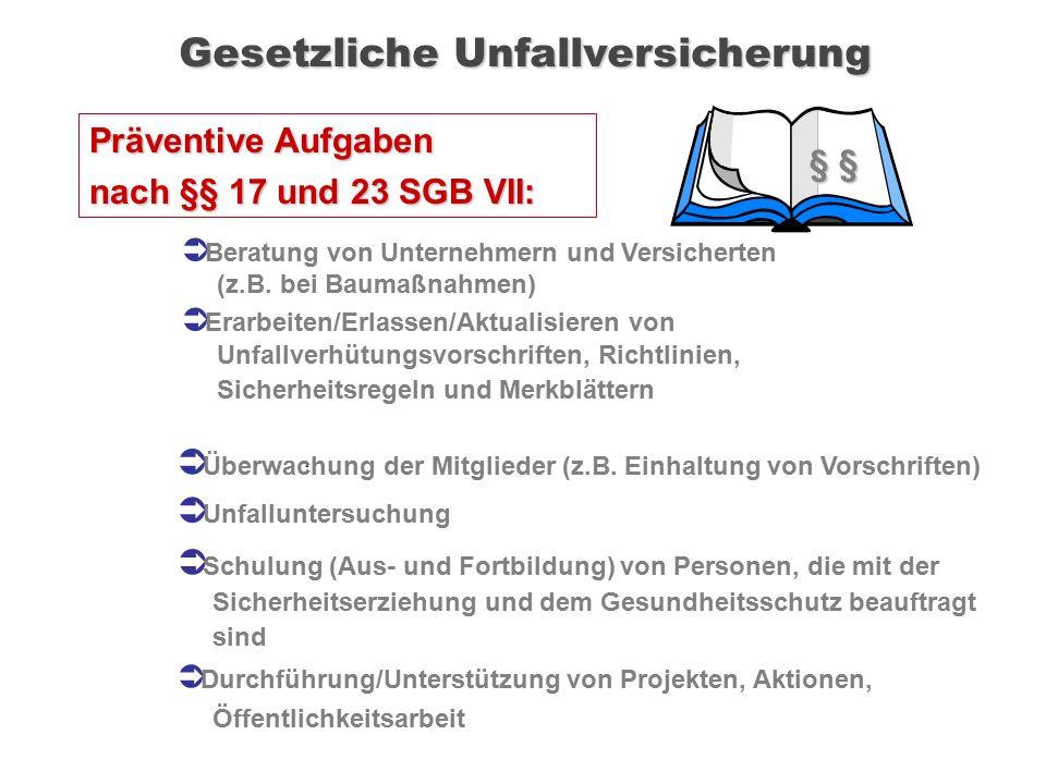. § § Präventive Aufgaben nach §§ 17 und 23 SGB VII: Gesetzliche Unfallversicherung  Beratung von Unternehmern und Versicherten (z.B. bei Baumaßnahme