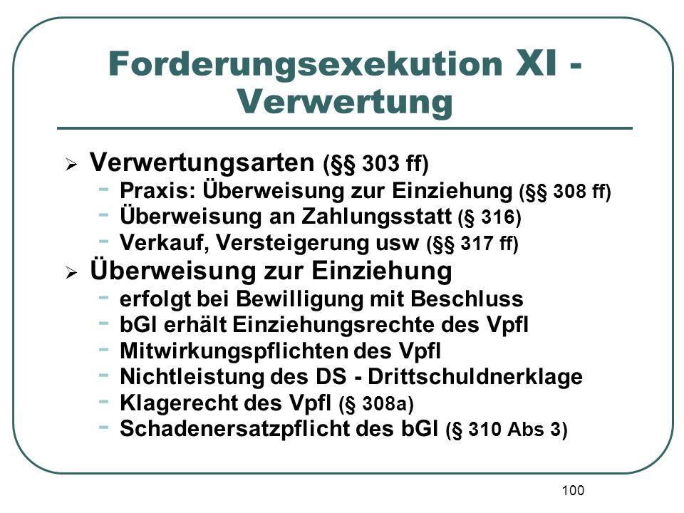 100 Forderungsexekution XI - Verwertung  Verwertungsarten (§§ 303 ff) - Praxis: Überweisung zur Einziehung (§§ 308 ff) - Überweisung an Zahlungsstatt