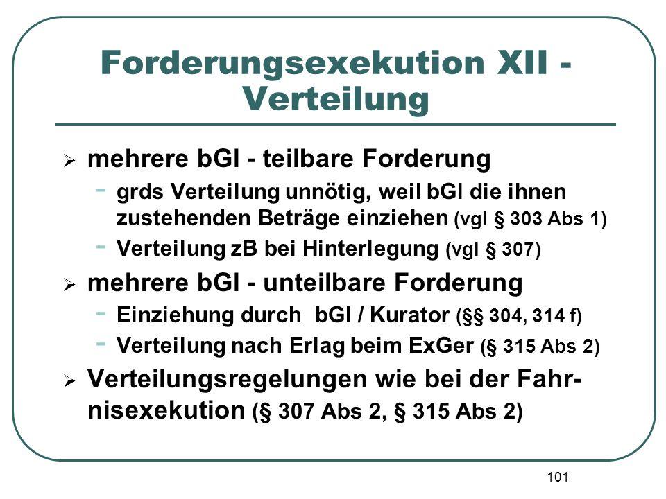 101 Forderungsexekution XII - Verteilung  mehrere bGl - teilbare Forderung - grds Verteilung unnötig, weil bGl die ihnen zustehenden Beträge einziehe