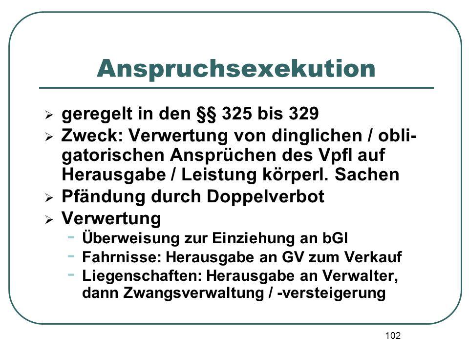 102 Anspruchsexekution  geregelt in den §§ 325 bis 329  Zweck: Verwertung von dinglichen / obli- gatorischen Ansprüchen des Vpfl auf Herausgabe / Le