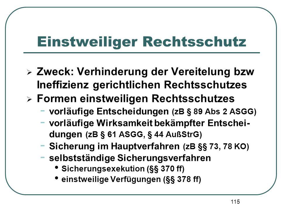 115 Einstweiliger Rechtsschutz  Zweck: Verhinderung der Vereitelung bzw Ineffizienz gerichtlichen Rechtsschutzes  Formen einstweiligen Rechtsschutze
