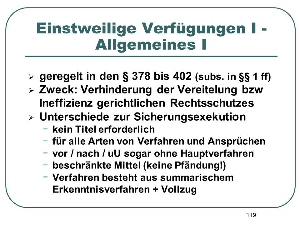 119 Einstweilige Verfügungen I - Allgemeines I  geregelt in den § 378 bis 402 (subs. in §§ 1 ff)  Zweck: Verhinderung der Vereitelung bzw Ineffizien