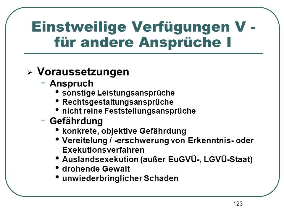 123 Einstweilige Verfügungen V - für andere Ansprüche I  Voraussetzungen - Anspruch sonstige Leistungsansprüche Rechtsgestaltungsansprüche nicht rein