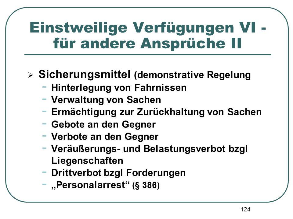 124 Einstweilige Verfügungen VI - für andere Ansprüche II  Sicherungsmittel (demonstrative Regelung - Hinterlegung von Fahrnissen - Verwaltung von Sa