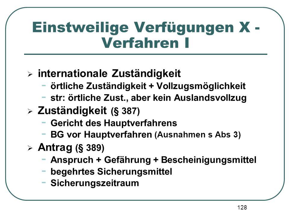 128 Einstweilige Verfügungen X - Verfahren I  internationale Zuständigkeit - örtliche Zuständigkeit + Vollzugsmöglichkeit - str: örtliche Zust., aber