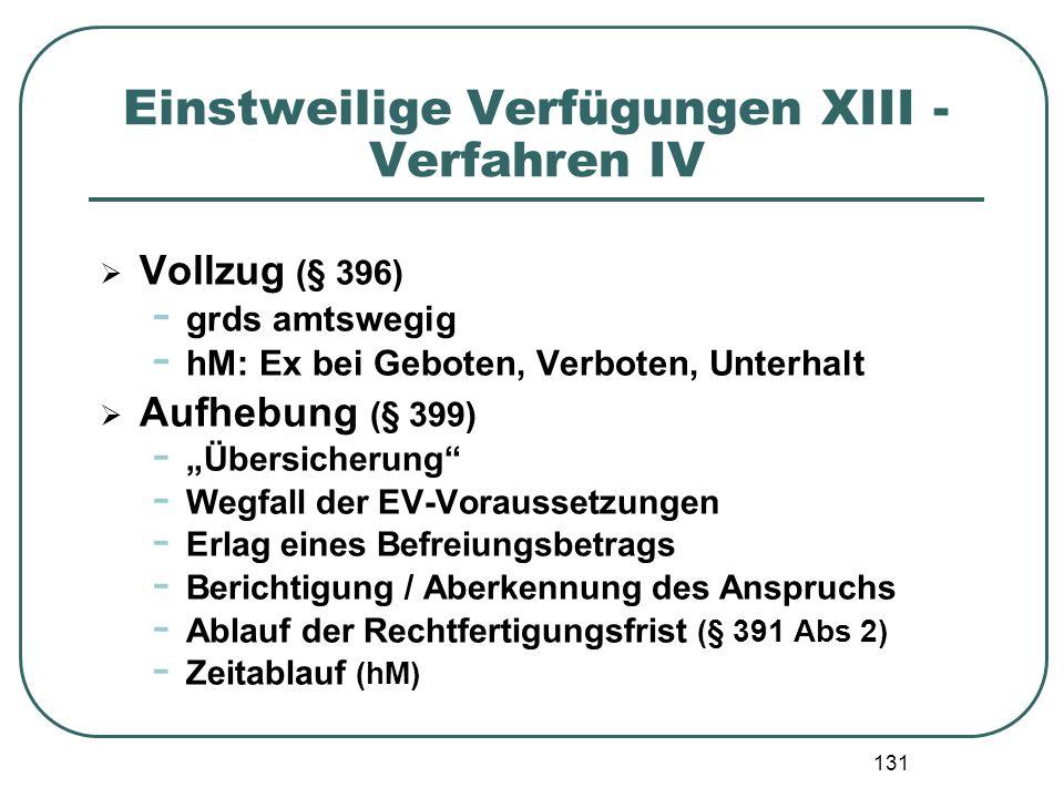 """131 Einstweilige Verfügungen XIII - Verfahren IV  Vollzug (§ 396) - grds amtswegig - hM: Ex bei Geboten, Verboten, Unterhalt  Aufhebung (§ 399) - """"Ü"""