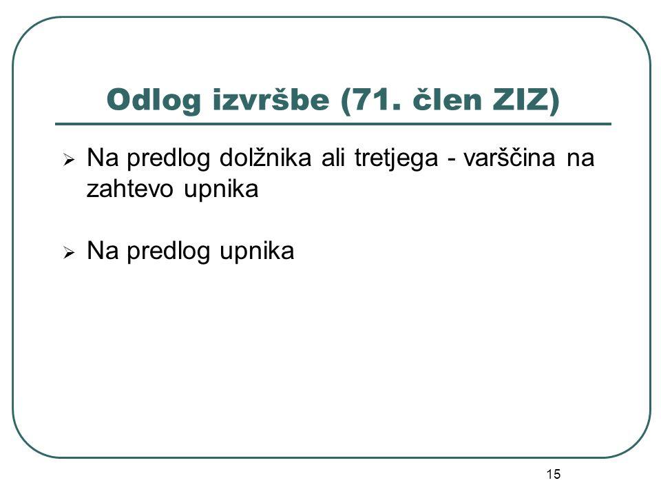 15 Odlog izvršbe (71. člen ZIZ)  Na predlog dolžnika ali tretjega - varščina na zahtevo upnika  Na predlog upnika