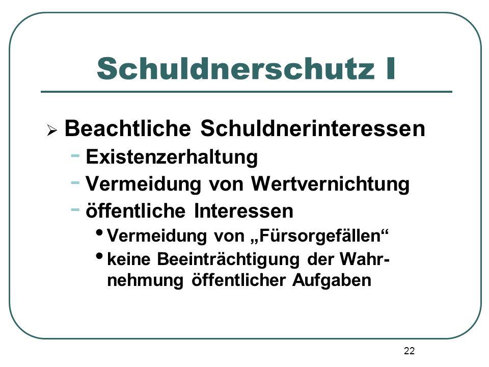 """22 Schuldnerschutz I  Beachtliche Schuldnerinteressen - Existenzerhaltung - Vermeidung von Wertvernichtung - öffentliche Interessen Vermeidung von """"F"""