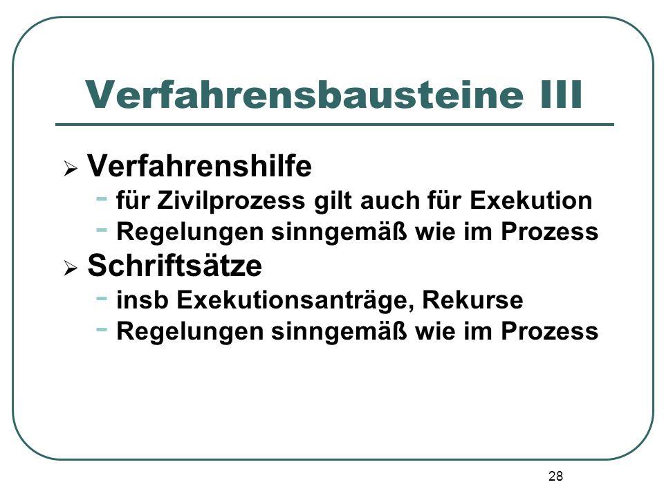 28 Verfahrensbausteine III  Verfahrenshilfe - für Zivilprozess gilt auch für Exekution - Regelungen sinngemäß wie im Prozess  Schriftsätze - insb Ex